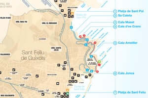 Cales i platges de Sant Feliu de Guíxols (Mapa De Cales De Sant Feliu De Guixols)