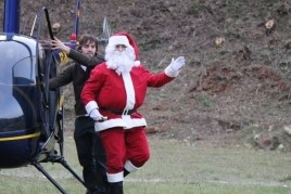 Arrival of Santa Claus by helicopter